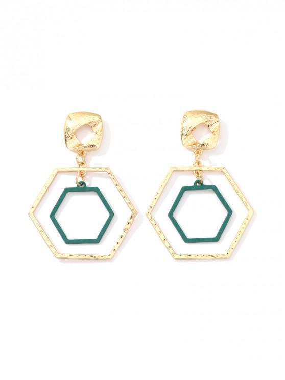 Pendientes de gota hexagonales ahuecados - Oro