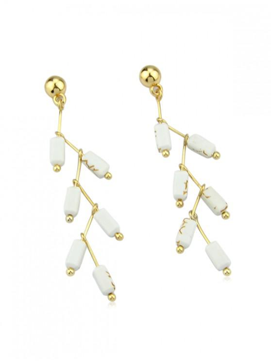 outfits Stone Design Long Drop Earrings - WHITE
