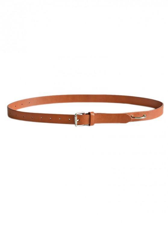 Cinturón de cuero PU de virola simple - Marrón Claro