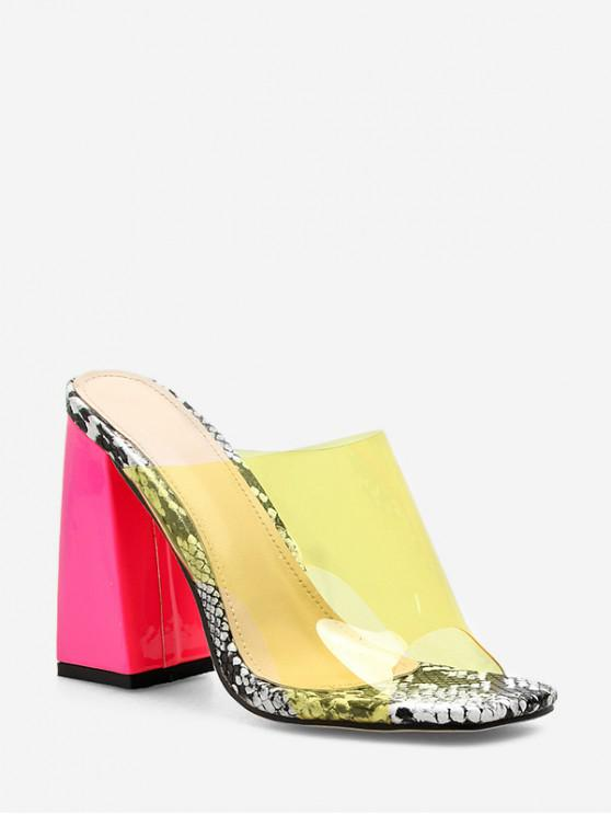 chic Chunky Heel Stylish Transparent Sandals - YELLOW EU 40