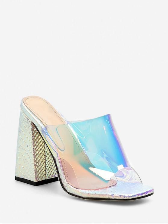 Tacón grueso sandalias transparentes con estilo - Plata EU 38