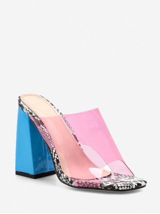 Tacón grueso sandalias transparentes con estilo - Rosado EU 40