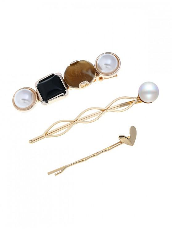 Perlas artificiales falsas gemas de diseño geométrico pinzas para el cabello - Multicolor-A