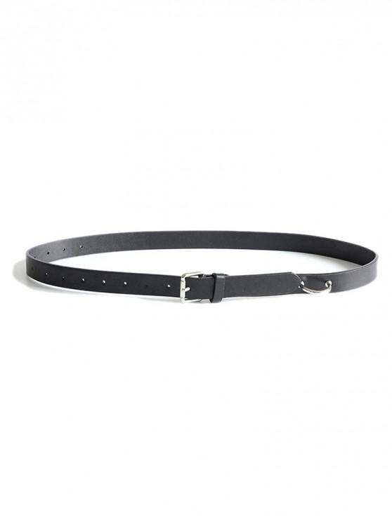 Cinturón de cuero PU de virola simple - Negro