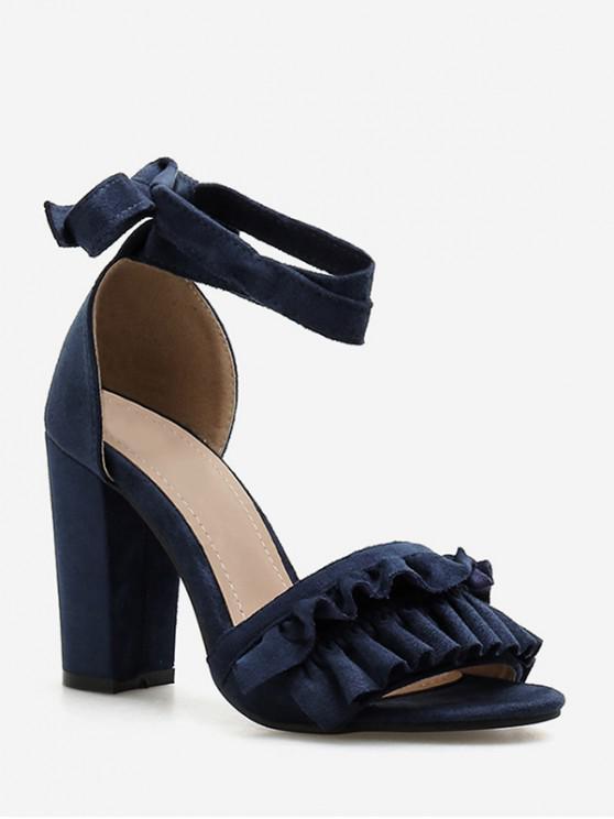 trendy Chunky Heel Ruffle Design Sandals - SLATE BLUE EU 38