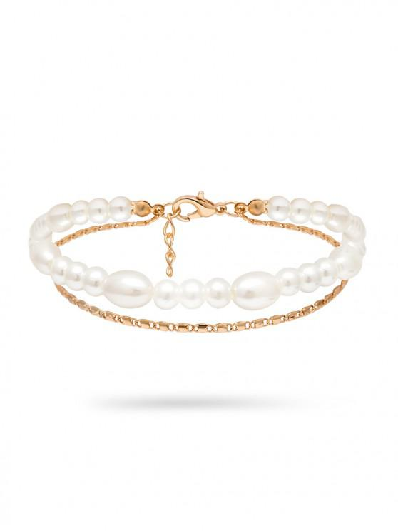 fancy Double Layer Faux Pearl Chain Anklets - GOLD