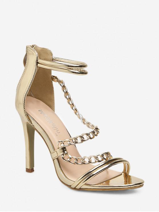 ladies High Heel Chain Design Sandals - GOLD EU 40