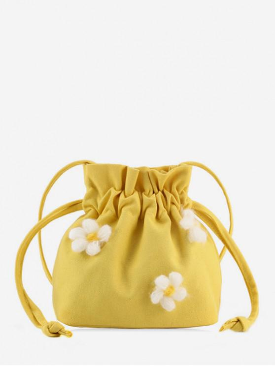 outfit Flower Canvas Strawstring Bucket Bag - YELLOW
