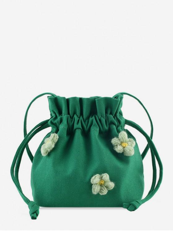 shops Flower Canvas Strawstring Bucket Bag - GREEN