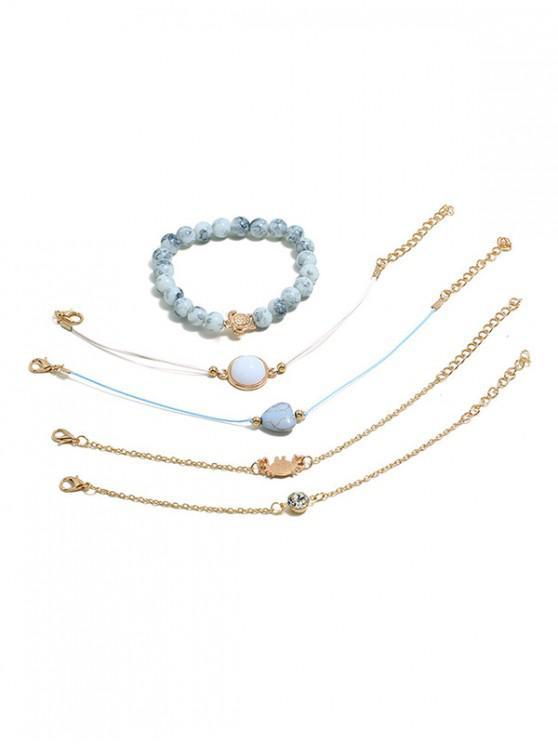 buy 5Pcs Heart Animal Beaded Bracelet Set - GOLD