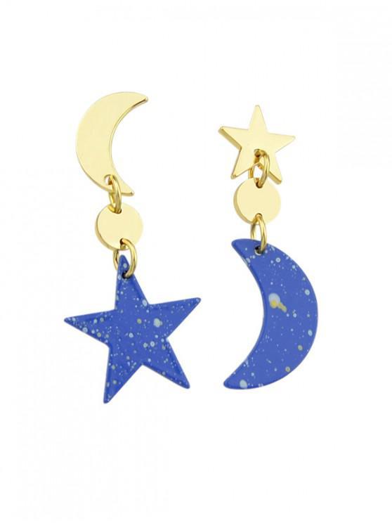 lady Moon and Star Design Asymmetric Drop Earrings - OCEAN BLUE