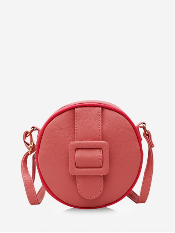 fancy Zipper Round Solid Crossbody Bag - PINK