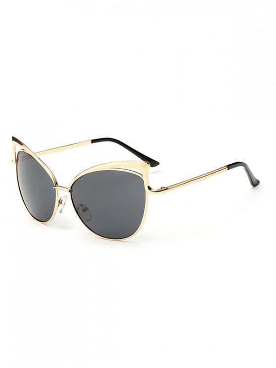 Gafas de sol con estilo de marco de metal irregular - Negro