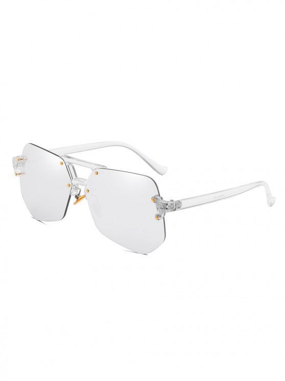 buy Stylish Irregular Shape Rimless Sunglasses - PLATINUM