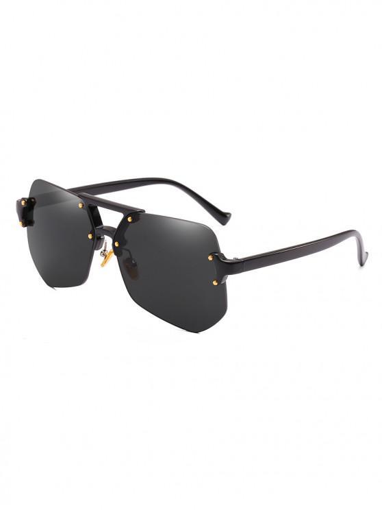 Gafas de sol sin montura de forma irregular con estilo - Negro