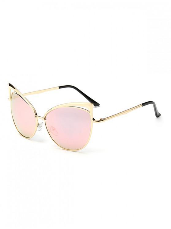Gafas de sol con estilo de marco de metal irregular - Cerdo Rosa