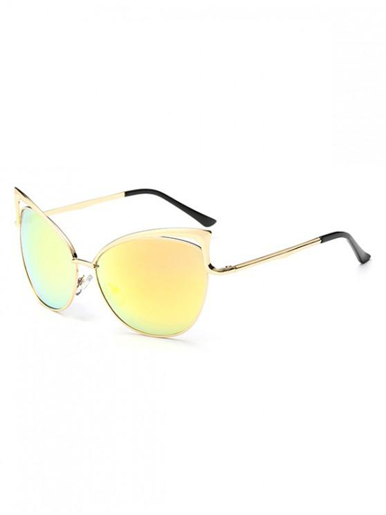 Gafas de sol con estilo de marco de metal irregular - Amarillo