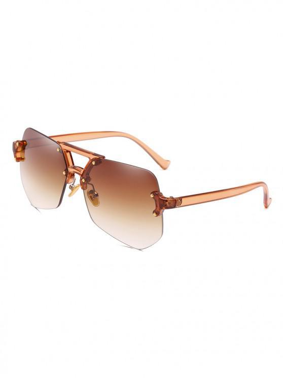 Gafas de sol sin montura de forma irregular con estilo - Marrón