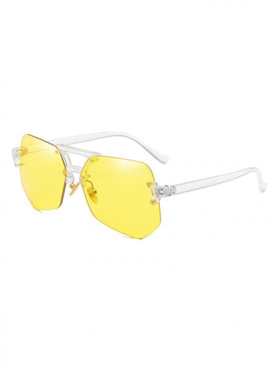 Gafas de sol sin montura de forma irregular con estilo - Amarillo de Mazorca de Maíz