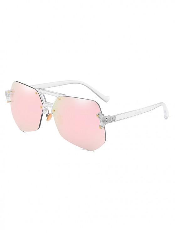 Gafas de sol sin montura de forma irregular con estilo - Rosado