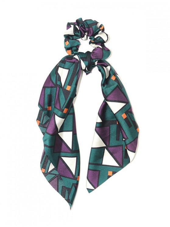 Banda elástica con estampado geométrico para el cabello - Azul Verdoso