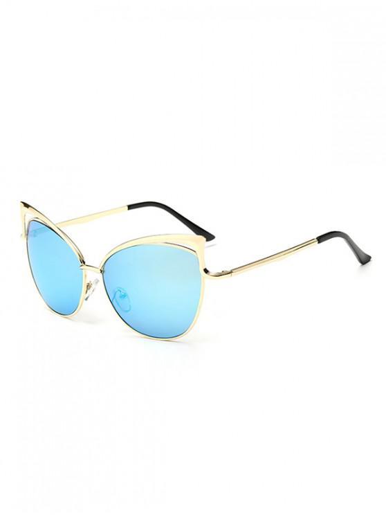 Gafas de sol con estilo de marco de metal irregular - Celeste Ligero