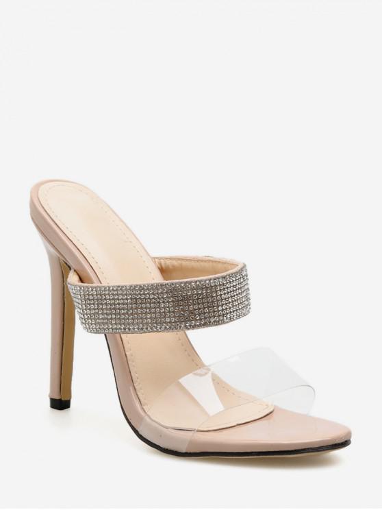 fancy Transparent Rhinestone Stiletto Heeled Sandals - APRICOT EU 38