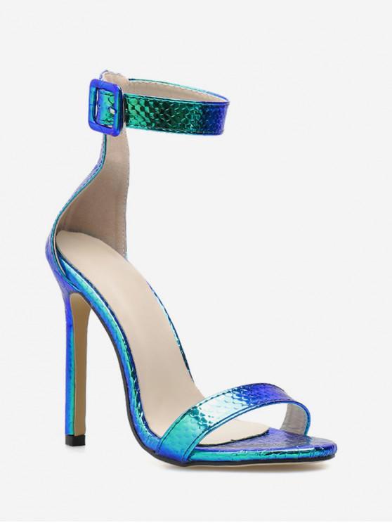 online Buckle Design Laser Ankle Strap High Heel Sandals - COBALT BLUE EU 39