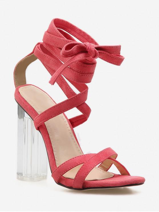 latest High Heel Crystal Heel Ankle Wrap Sandals - PINK EU 37