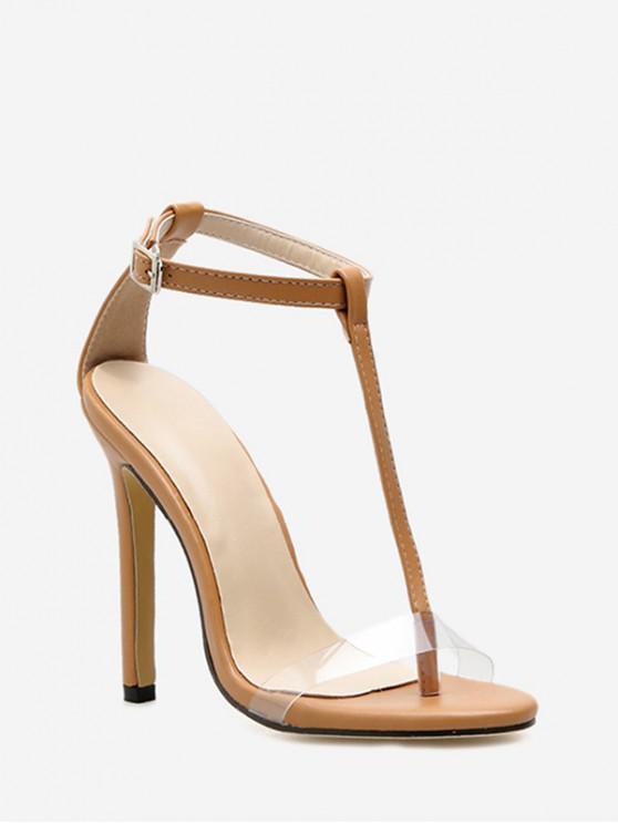 ladies T Strap Peep Toe Stiletto Heel Sandals - APRICOT EU 38