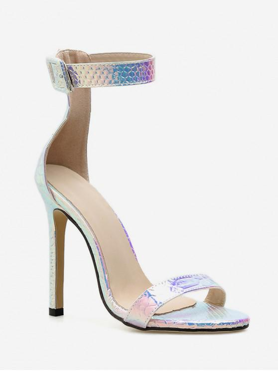 women Buckle Design Laser Ankle Strap High Heel Sandals - SILVER EU 37