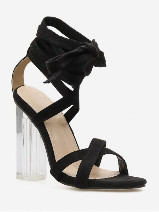 Sandalias de tacón alto del tobillo de cristal de tacón alto - Negro EU 39
