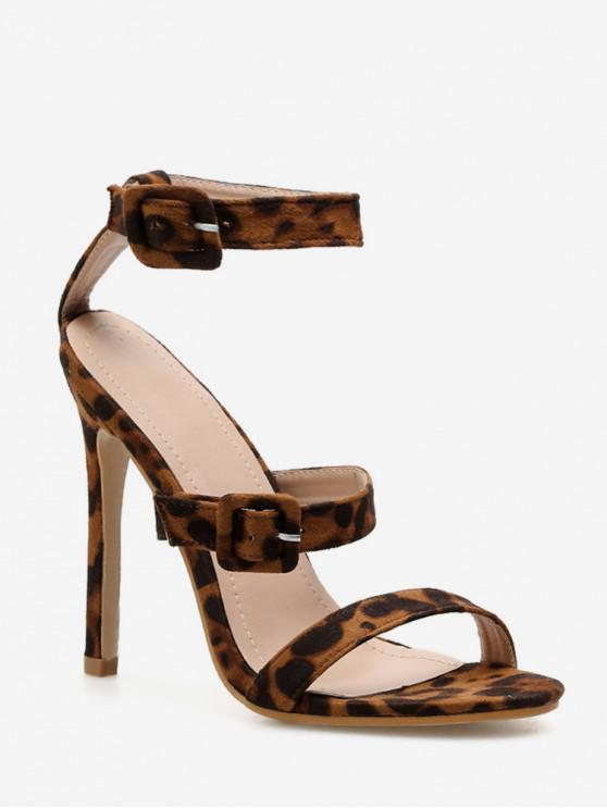 Correa de tobillo sexy sandalias de tacón alto - Leopardo EU 38