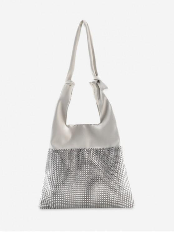 Bolso de hombro de color sólido con nudo de diamantes de imitación - Blanco