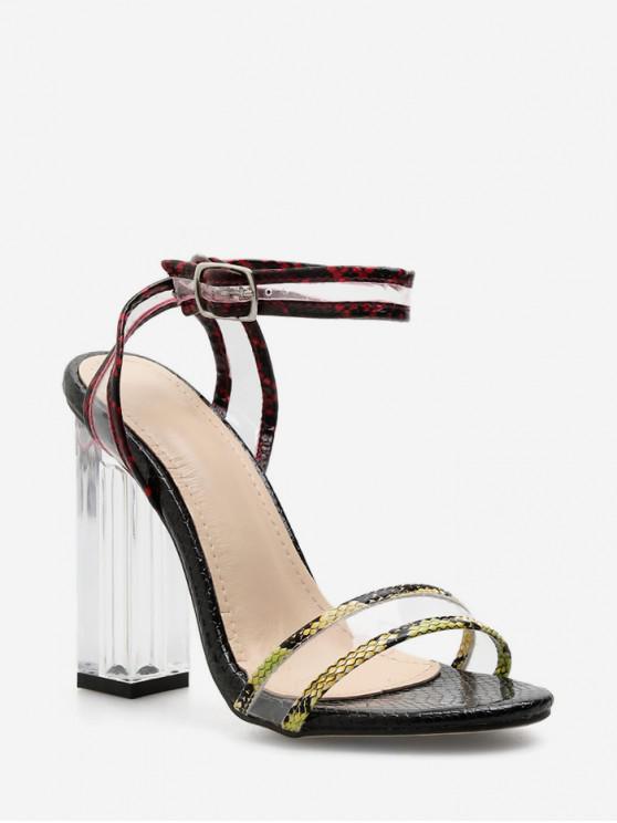 Sandalias de tacón alto de cristal con estampado de leopardo - Suciedad Roja EU 40