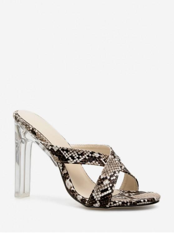 Sandalias con estampado de piel animal de tacón de cristal - Marrón EU 37