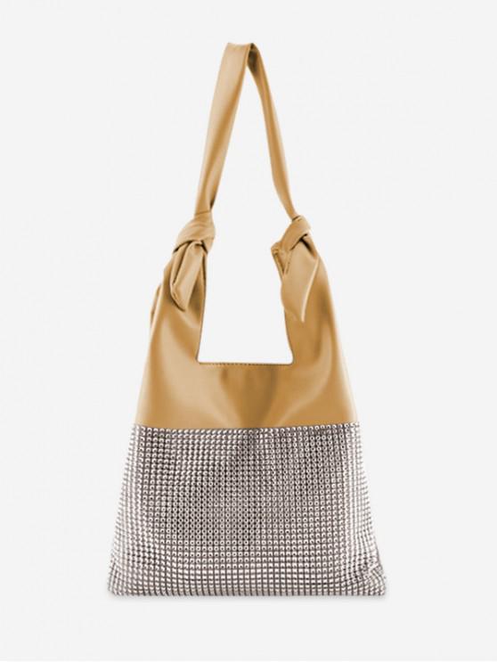 Bolso de hombro de color sólido con nudo de diamantes de imitación - Amarillo