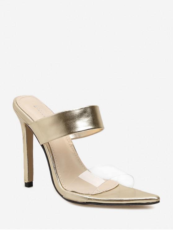 Elegantes sandalias de tacón alto en punta - Oro EU 39