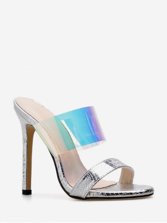 Sandalias de tacón alto transparentes con estilo europeo - Blanco EU 38
