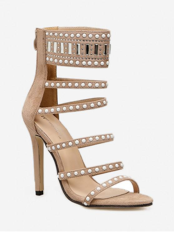 Sandalias europeas de tacón alto con diseño de diamantes de imitación - Albaricoque EU 39