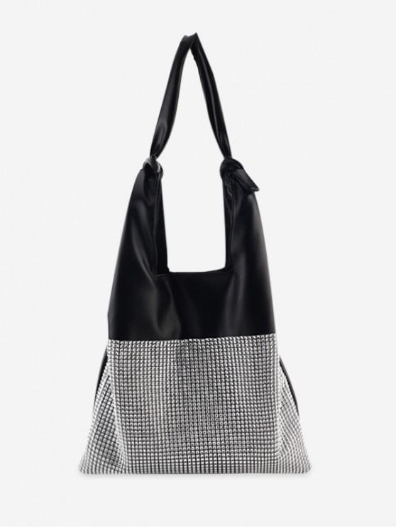 Bolso de hombro de color sólido con nudo de diamantes de imitación - Negro