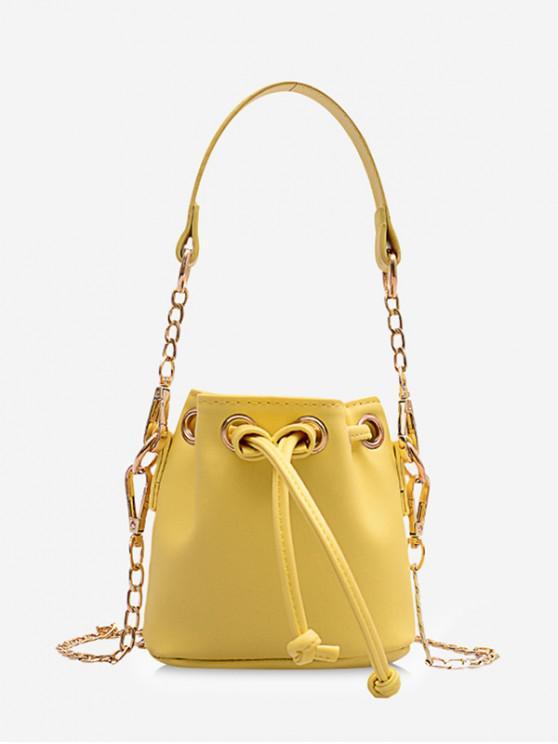 fancy Retro String Chain Bucket Shoulder Bag - YELLOW