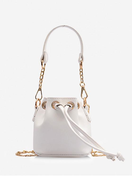 womens Retro String Chain Bucket Shoulder Bag - WHITE