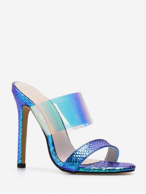 Sandalias de tacón alto transparentes con estilo europeo - Azul Pizarra EU 40