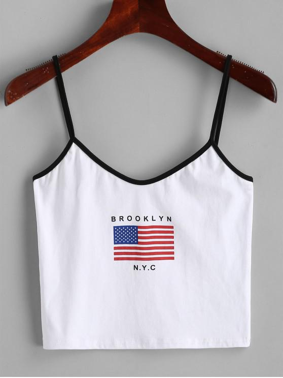 lady American Flag Cropped Ringer Cami Top - WHITE S