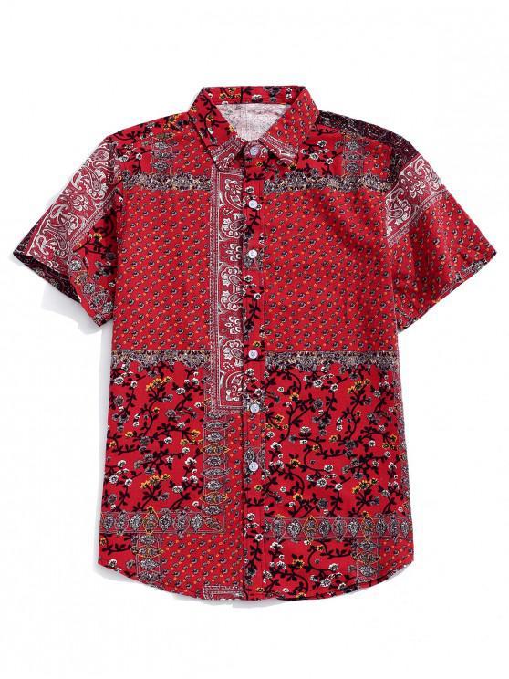 القبلية Ditsy طباعة قميص بأكمام قصيرة - أحمر 2XL