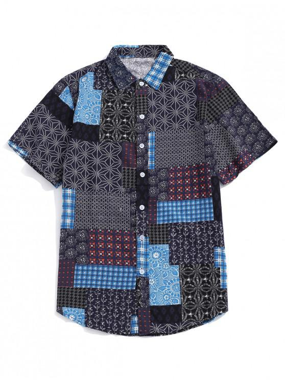 unique Tribal Ditsy Print Short Sleeves Shirt - LAPIS BLUE L