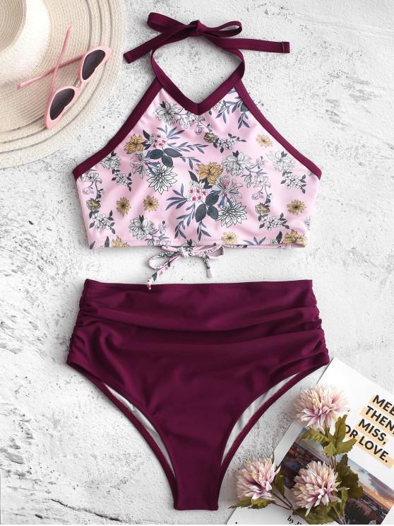trendy ZAFUL Plant Print Piping Ruched Halter Tankini Swimsuit - VELVET MAROON M