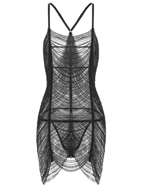 sale Sheer Fringed Dress with G-string - BLACK M