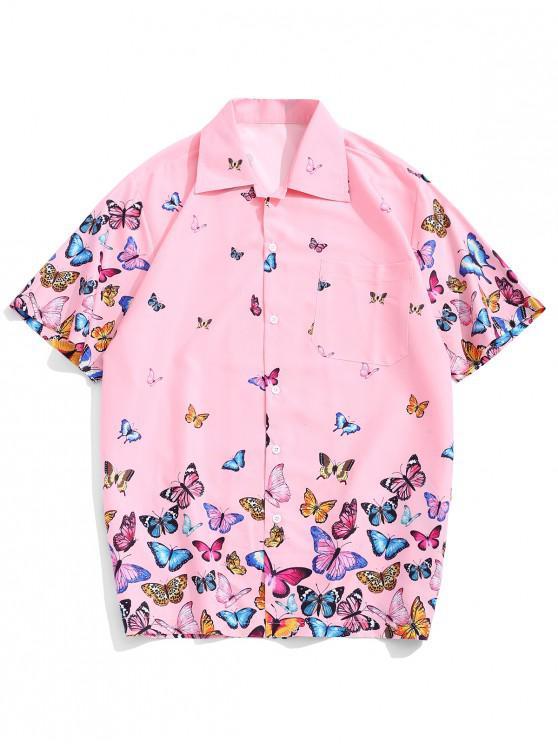 shop Allover Butterflies Print Casual Short Sleeves Shirt - PINK L